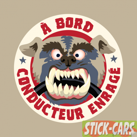 Sticker voiture : conducteur enragé à bord